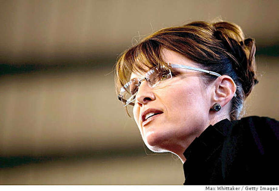 CARSON CITY, NV - SEPTEMBER 13:  Republican U.S. Vice Presidential Candidate Alaska Gov. Sarah Palin speaks at a campaign rally September 13, 2008 in Carson City, Nevada. Palin will be campaigning alone for a few days before rejoining Republican U.S. Presidential Candidate John McCain the next week.  (Photo by Max Whittaker/Getty Images) Photo: Max Whittaker, Getty Images