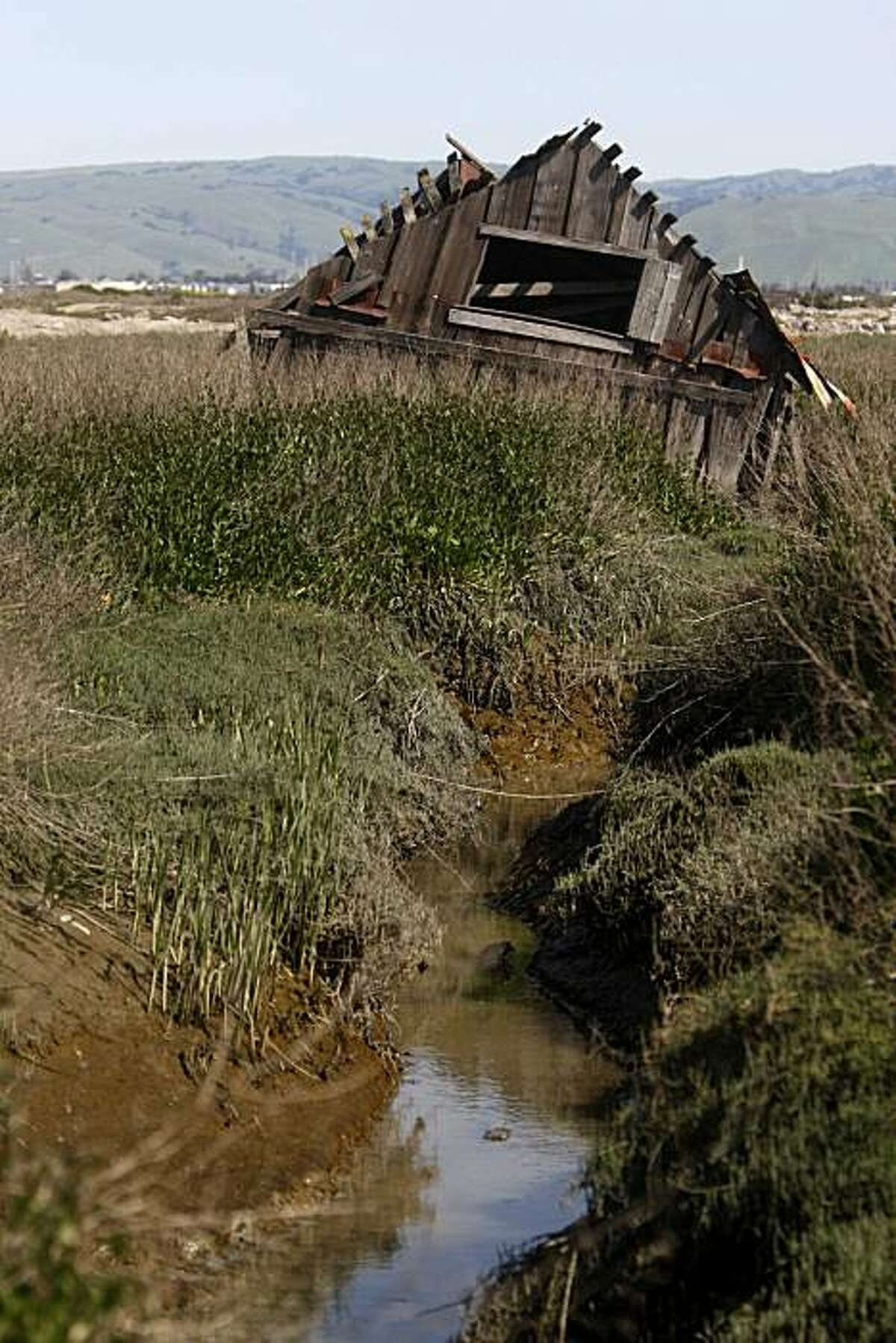 An historic building in Drawbridge Calif., an abandoned fishing and hunting community located on the Don Edwards San Francisco Bay National Wildlife Refuge near San Jose, is being naturally reclaimed by the south bay salt flats on Tuesday March 23, 2010.