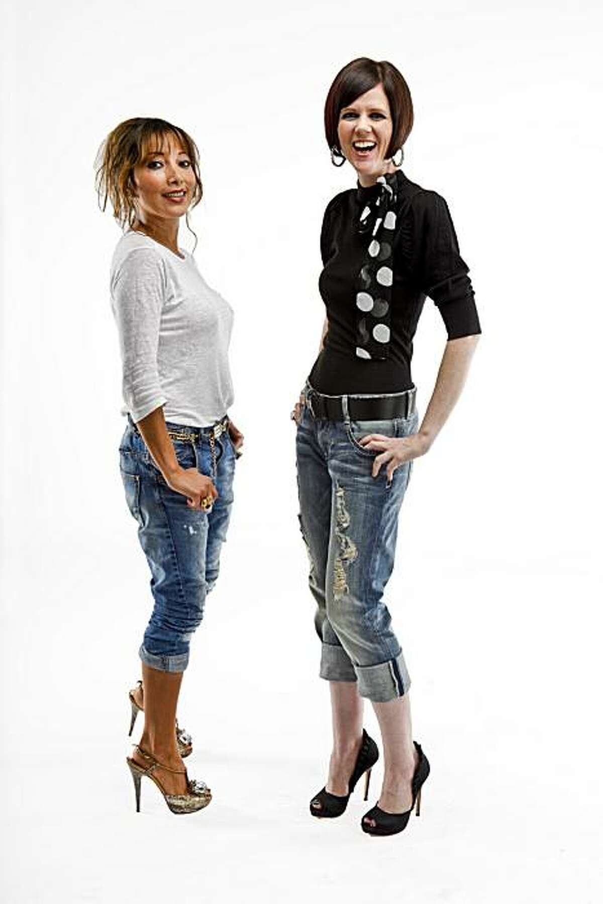 Client Wendy Haller, right, wears a casual outfit that stylist Karen Tamblyn, left, helped her assemble: Distressed boyfriend jeans by Guess by Marciano, a black top by Mango with a polka dot ribbon ($49), a Banana Republic black belt, Alexander McQueen black silk pumps, and a Chanel clutch.