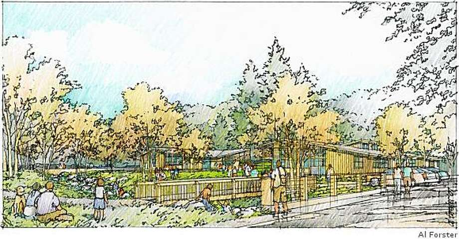 Artist's rendering of the newly daylighted Sausal Creek and the Portola Valley Town Center, which will open on September 14. Photo: Al Forster