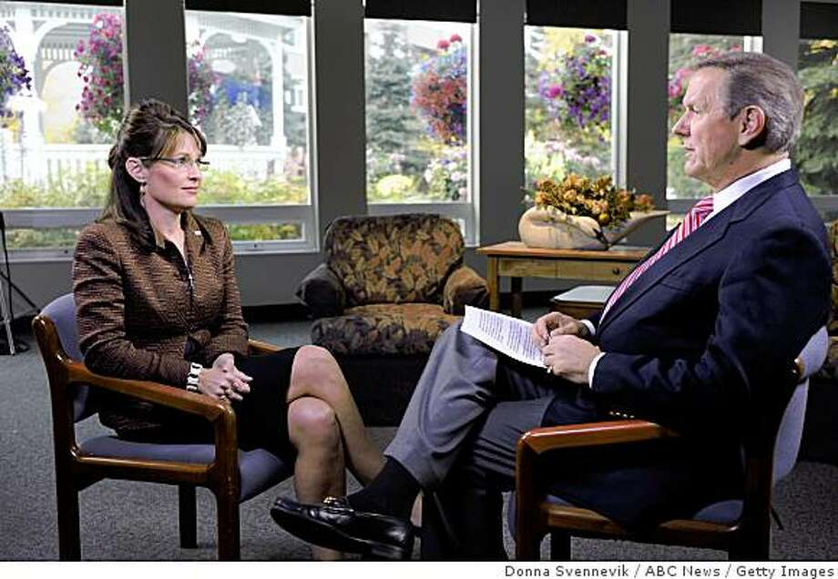 Anchor Charles Gibson talks to Republican vice presidential nominee Alaska Gov. Sarah Palin in a multi-part interview Sept. 11, 2008 in Fairbanks, Alaska. Palin returned for her first public appearance in Alaska since the announcement of her candidacy with Republican vice presidential nominee Sen. John McCain (R-AZ).  (Photo by Donna Svennevik/ABC NEWS via Getty Images) Photo: Donna Svennevik, ABC News / Getty Images