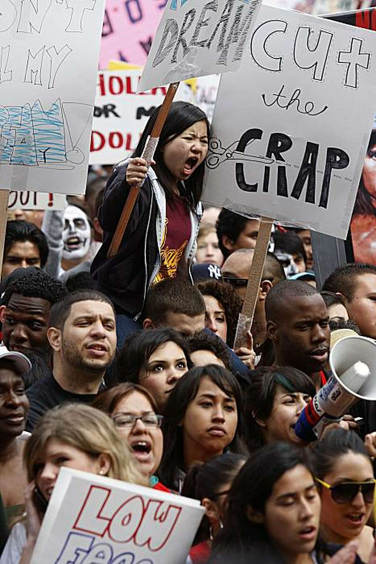 California students from community colleges statewide rallied against school budget cuts at the state capitol in Sacramento, Calif., on Monday, March 22, 2010.
