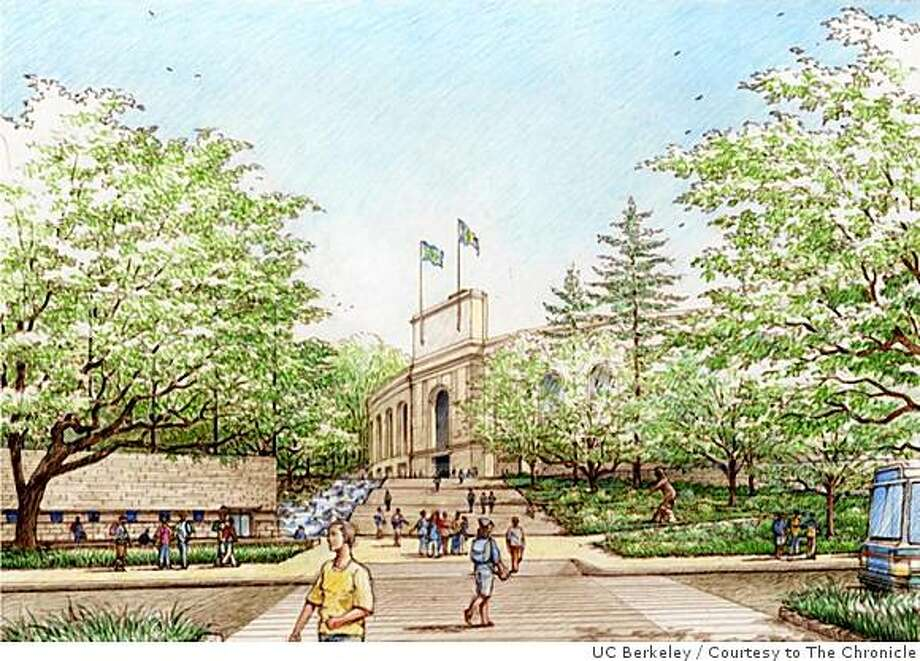 Plans for the southest campus and stadium area call for reinstituting a grand walkway from the Haas School of Business to the north arch of California Memorial Stadium, a pathway envisioned in the original 1922 plans for the site. Photo: UC Berkeley, Courtesy To The Chronicle