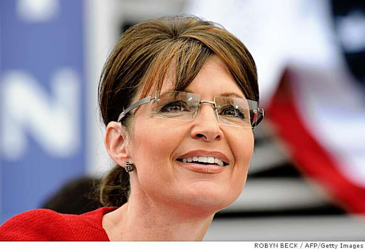 US Republican vice presidential candidate Alaska Governor Sarah Palin pauses during her speech at a ?McCain Street USA? campaign event in Lebanon, Ohio on September 9, 2008. AFP PHOTO Robyn BECK (Photo credit should read ROBYN BECK/AFP/Getty Images)