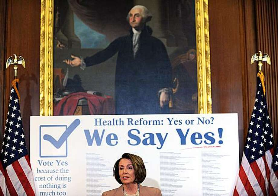 "US Speaker of the House Nancy Pelosi holds holds her weekly press conference on March 19, 2010 on Capitol Hill in Washington. The House was expected to cast its verdict on a Senate bill on March 21 and a ""yes"" vote would enshrine into law comprehensive health care reform, bringing coverage to 32 million Americans who currently lack insurance.    TOPSHOTS/ Photo: Tim Sloan, AFP/Getty Images"