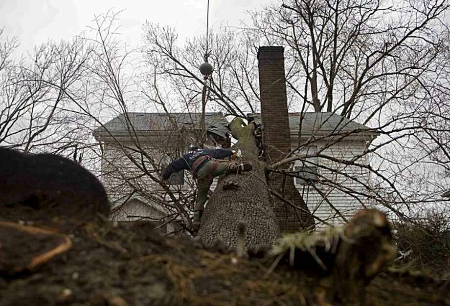 A worker straddles the trunk of a fallen tree as its removed from a house in the aftermath of a storm Monday, March 15, 2010 in White Plains, N.Y.. No one was hurt in the incident. Photo: David Goldman, AP