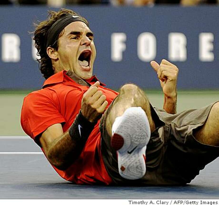 Roger Federer reacts after winning the U.S. Open men's final over Andy Murray on September 8, 2008 at the National Tennis Center in Flushing Meadows, New York. Photo: Timothy A. Clary, AFP/Getty Images