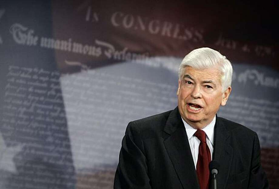 Senate Banking Committee Chairman Sen. Christopher Dodd, D-Conn. unveils his proposal on new financial rules during a news conference in the Senate Radio and Television Gallery on Capitol Hill in Washington, Monday, March 15, 2010. Photo: Haraz N. Ghanbari, AP