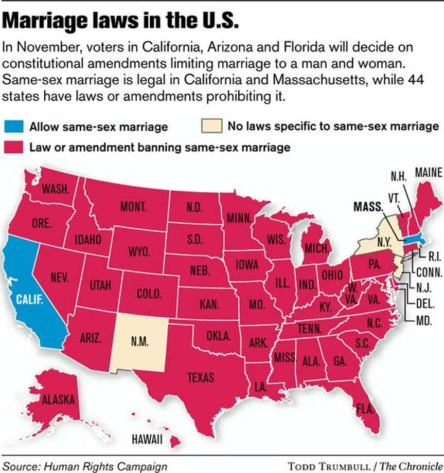 Marriage Laws in the U.S. (Todd Trumbull / The Chronicle)
