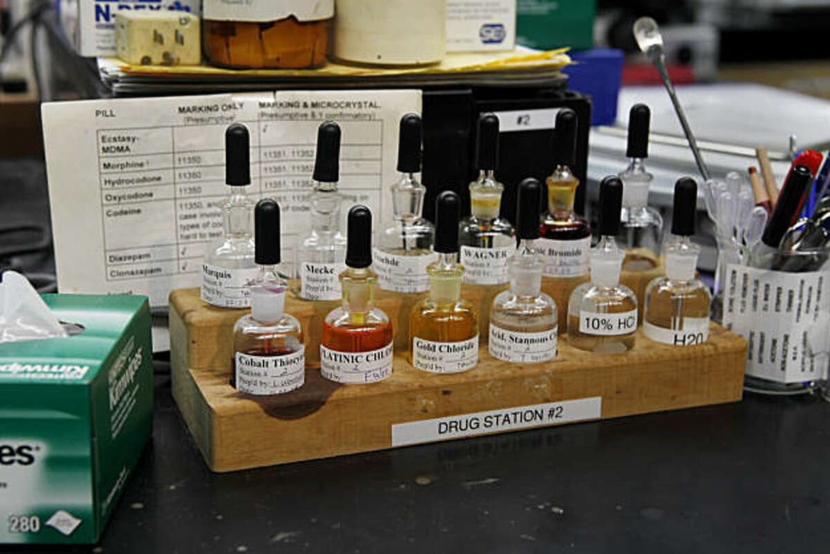 Equipment is seen in the narcotics/chemical analysis unit during a media tour of the Crime Lab in San Francisco, Calif. on Wednesday, March 10, 2010.