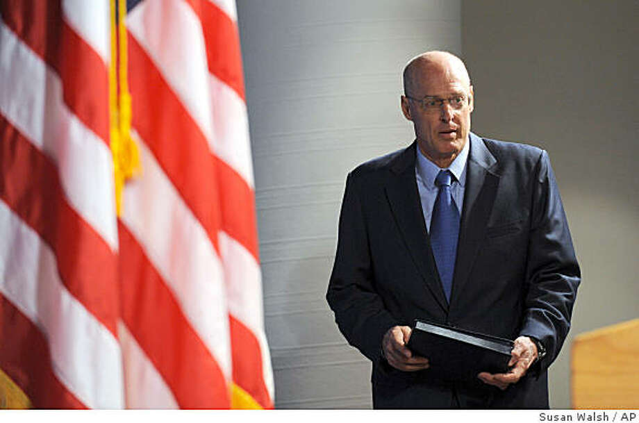 Treasury Secretary Henry Paulson, Jr. arrives for a news conference in Washington, Sunday, Sept. 7, 2008 on the bailout of mortgage giants Fannie Mae and Freddie Mac. (AP Photo/Susan Walsh) Photo: Susan Walsh, AP