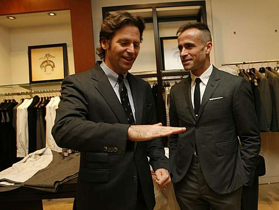 Trevor Traina (left) talking with Thom Browne (right).  Brooks Brothers is hosting its new designer, Thom Browne, at a reception in it's downtown store. Photo: Liz Hafalia, The Chronicle