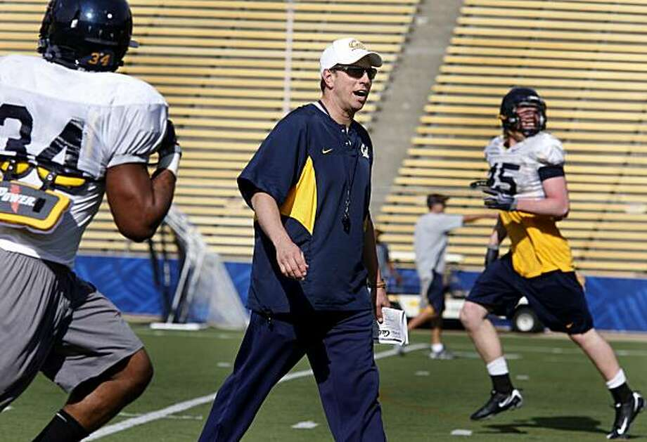 Jeff Genyk, Cal's new special teams coordinator, worked out his players Tuesday March 16, 2010 at Memorial Stadium on the Berkeley, CA. campus. Photo: Brant Ward, The Chronicle
