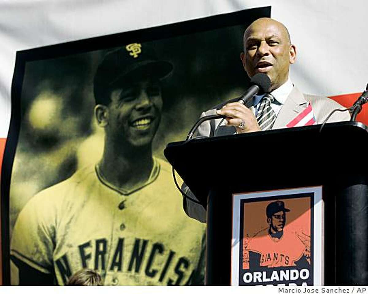 Former San Francisco Giants baseball player Orlando Cepeda smiles during a ceremony to unveil a bronze statue in his honor outside of AT&T Park in San Francisco, Saturday, Sept. 6, 2008. (AP Photo/Marcio Jose Sanchez)