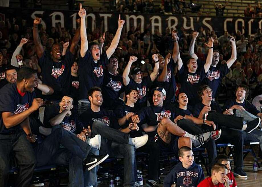 The St. Mary's Gaels react to their NCAA Basketball Tournament announcement on Sunday, March 14, 2010, in McKeon Pavilion in Moraga, Calif. The Gaels will play the No. 7-seeded Richmond Spiders on March 18th. Tournament Bracket announcements had some watching in anticipation, not so much for whether they would get in, but rather who would be their opponent. Photo: Carlos Avila Gonzalez, The Chronicle
