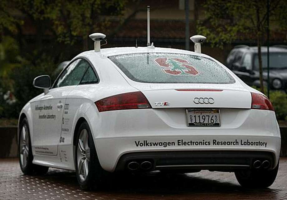 A car, designed to drive by itself without an operator, is displayed at the Mechanical Engineering Lab at Stanford University in Stanford, Calif., on Friday, March 12, 2010. Designed by a team of engineering students, the Audi passenger car is configured with GPS technology to help guide the vehicle. Designers plan to test out its driverless capabilities with a test run up Pike's Peak in Colorado later this year. Photo: Paul Chinn, The Chronicle