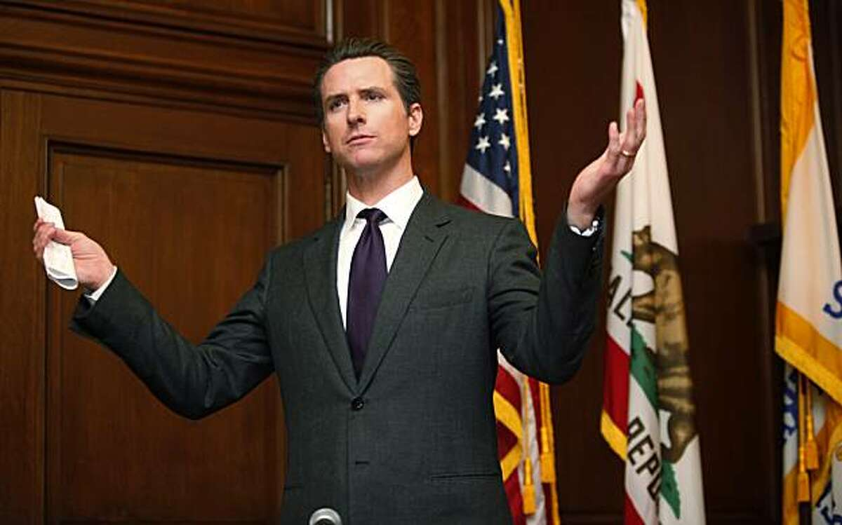 San Francisco Mayor Gavin Newsom gestures during a news conference in his office at City Hall in San Francisco, Thursday, March 11, 2010. He said that he will announce on Friday if he plans to run for the office of Calif. Lt. Gov. Newsom obtained the papers from the Department of Elections on Wednesday and paid a filing fee of about $2,500. He has until Friday to file the papers.