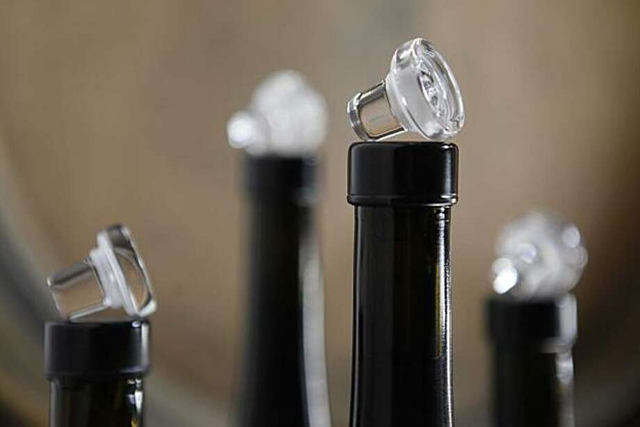 A grouping of wines from Robert Sinskey Vineyards use a Vino-Lok closure, made from glass, instead of a traditional cork on Tuesday March 9, 2010 in Napa, Calif. Photo: Mike Kepka, The Chronicle