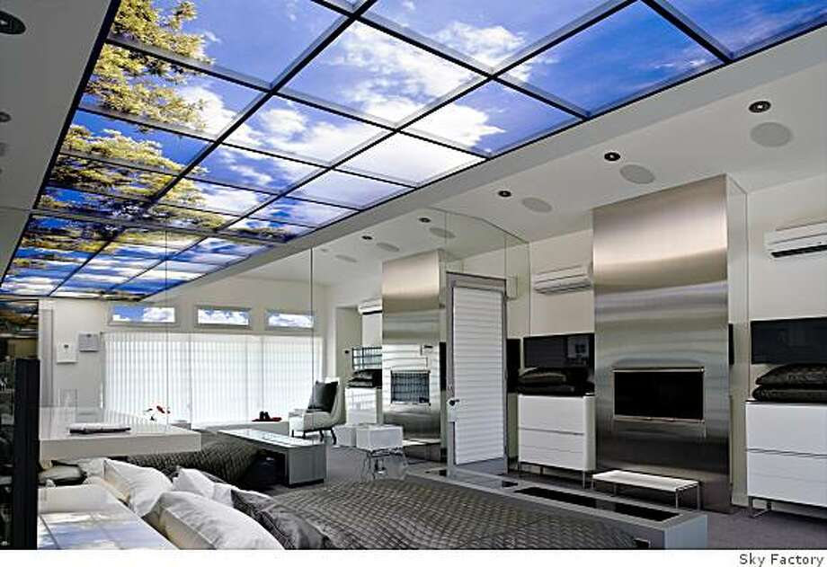 Sky Factory Luminous SkyCeilings give the illusion of sunny skies. Photo: Sky Factory