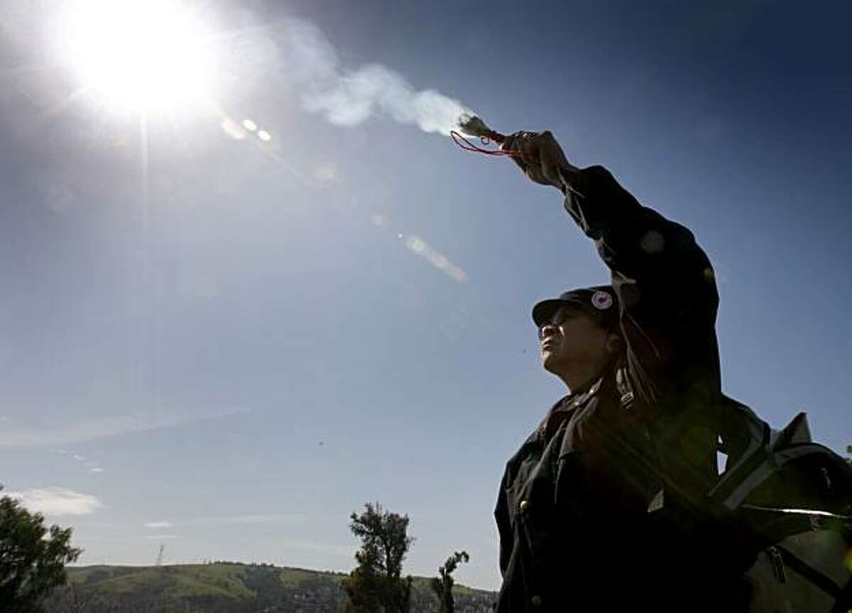 Norman Deocampo burns sage to bless the site of the proposed waterfront Glen Cove Park in Vallejo, Calif., on Thursday, March 11, 2010. Native Americans are fighting the proposed development which they say is sacred Ohlone burial ground.