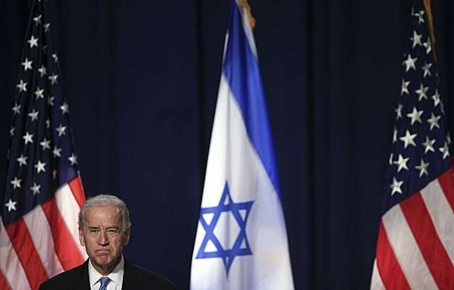 U.S. Vice President Joseph Biden looks on during his appearance at Tel Aviv University, in Tel Aviv, Israel, Thursday, March 11, 2010. Biden on Thursday implored Israelis and Palestinians to move beyond a diplomatic spat that has marred a trip to the region, urging the sides to waste no time in resolving their decades-old conflict despite daunting obstacles. Photo: Tara Todras-Whitehill, AP