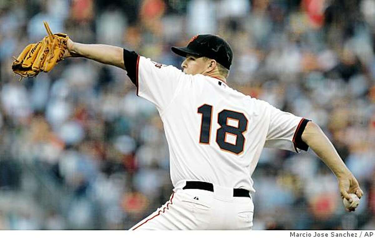 San Francisco Giants starting pitcher Matt Cain throws to the Pittsburgh Pirates in the third inning of a baseball game in San Francisco, Saturday, Sept. 6, 2008. (AP Photo/Marcio Jose Sanchez)