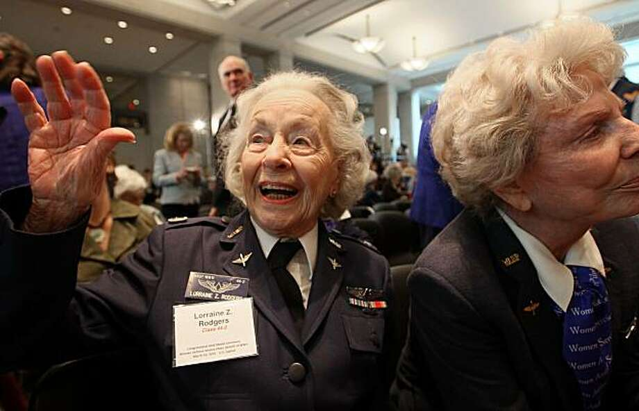 WASHINGTON - MARCH 10:  Pilot Lorraine Rodgers of Alexandria, Virginia attends a Congressional Gold Medal ceremony at the US Capitol on March 10, 2010 in Washington, DC. The ceremony was held to honor the Women Air Force Service Pilots (WASP) of WWII.  The WASP was a pioneering organization of civilian female pilots employed to fly military aircrafts under the direction of the United States Army Air Forces during World War II. Photo: Mark Wilson, Getty Images
