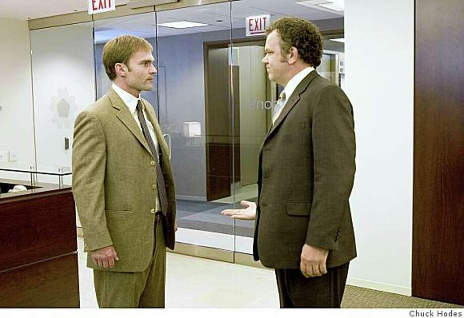 "Photo Caption: Doug (Seann William Scott, left) and  Richard (John C. Reilly) are mid-level Chicago supermarket employees who are competing for a managerial position at a new store location in Steve Conrad's comedy ""The Promotion"" Photo by: Chuck Hodes/TWC 2008.Seann William Scott (Doug) and John C. Reilly (Richard) star in Steve Conrad's The Promotion. Photo: Chuck Hodes, Photo Credit: Chuck Hodes"