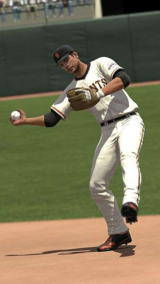 Giants second basemen Freddy Sanchez throws to first in MLB 2K10, the latest baseball video game from 2K Sports. Photo: Courtesy 2K Sports