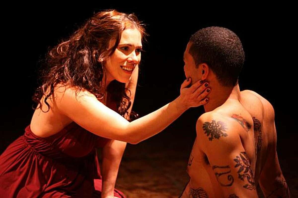 Joshua Torrez (right) in the title role and Romi Dias in Luis Alfaro's