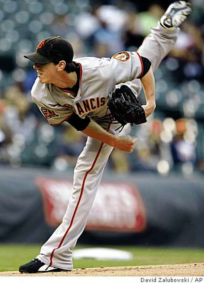 San Francisco Giants starting pitcher Tim Lincecum works against the Colorado Rockies in the first inning of a baseball game in Denver on Tuesday, Sept. 2, 2008. (AP Photo/David Zalubowski) Photo: David Zalubowski, AP