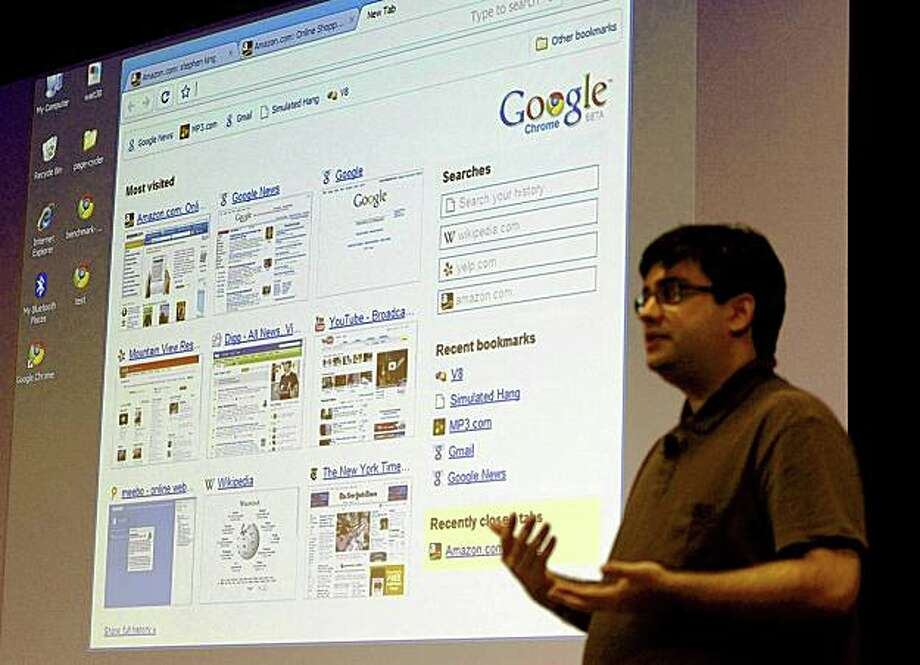"Google software engineer Ben Goodger introduces the company's new web browser, dubbed Google Chrome, at the company's headquarters in Mountain View, California September 2, 2008. Google Inc's new browser software is designed to work ""invisibly"" and will run any application that runs on Apple Inc's Safari Web browser, company officials said on Tuesday. REUTERS/Kimberly White (UNITED STATES) Photo: KIMBERLY WHITE, REUTERS"