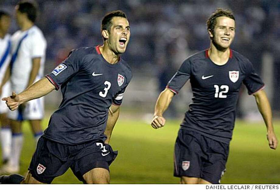 Carlos Bocanegra (L) of the U.S. celebrates his goal against Guatemala with teammate Michael Bradley during their CONCACAF World Cup qualifier soccer match in Guatemala City August 20, 2008. REUTERS/Daniel LeClair (GUATEMALA) Photo: DANIEL LECLAIR, REUTERS