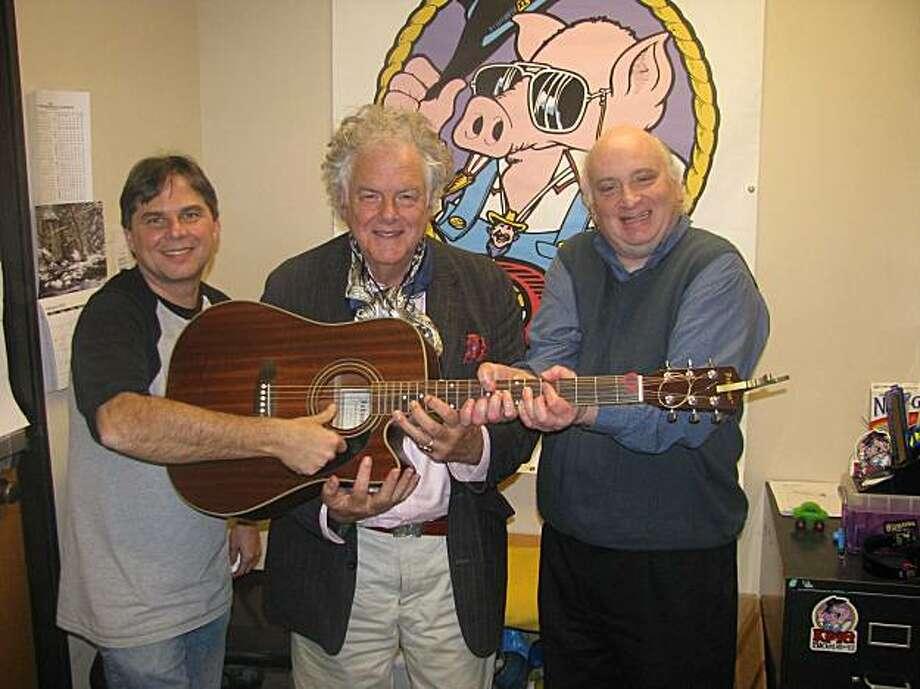 Ham Jam host on KPIG Tim Lynch with Peter Rowan and mandolin player Jody Stecher Photo: Mike Schwartz