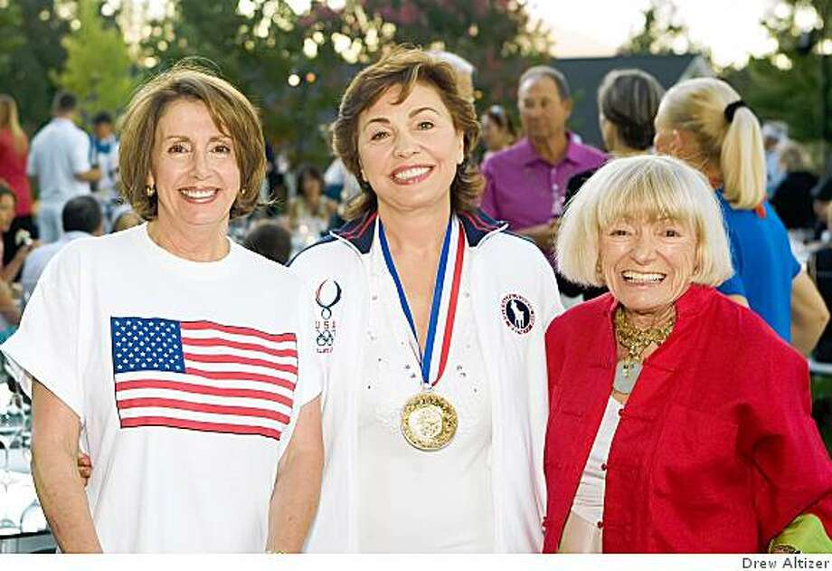 House Speaker Nancy Pelosi, Maria Manetti Farrow, and Margrit Biever Mondavi at Norah and Norman Stone's costume birthday party  Aug. 8 at their Azalea Springs vineyard home.  The theme was Beijing Olympics, and most people went with a sporty theme. Norah channeled a Grecian goddess, hearkening to the home of the Olympic Games. Mme. Speaker Nancy Pelosi, Maria Manetti Farrow, Margaret Mondavi Photo: Drew Altizer