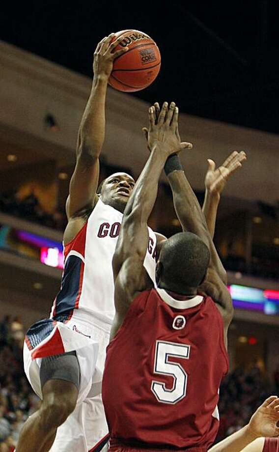 Gonzaga's Demetri Goodson shoots over Loyola Marymount's Ashley Hamilton during the first half of an NCAA college basketball game at the West Coast Conference tournament Sunday, March 7, 2010, in Las Vegas. Photo: Isaac Brekken, AP