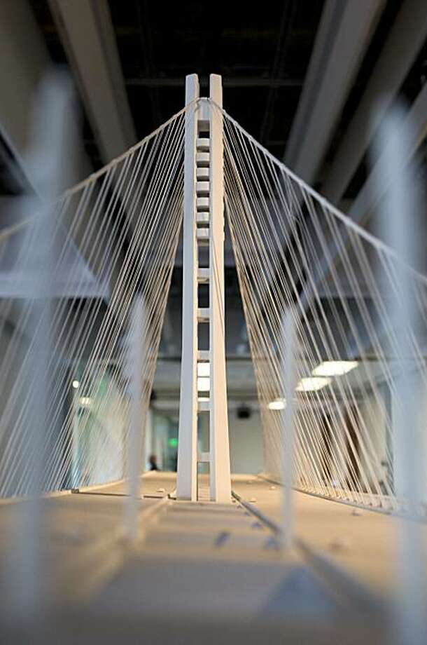 A scale model of the new San Francisco-Oakland Bay Bridge is seen at Autodesk's high-tech gallery in San Francisco, Calif. on Wednesday, Feb. 16, 2010.  The design software developer is now opening its exhibits to the public once a week, each Wednesday afternoon. Photo: Adam Lau, The Chronicle