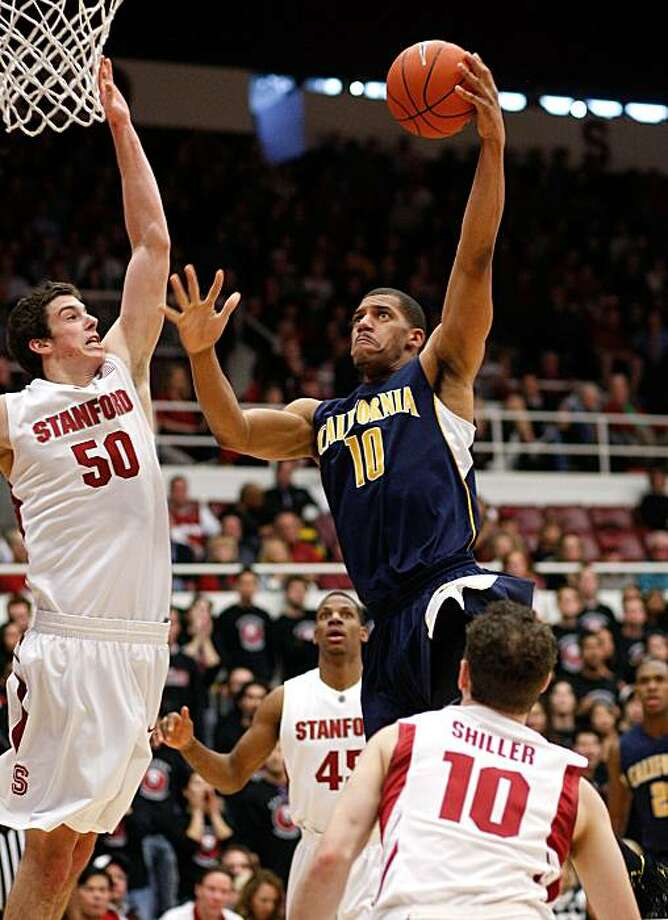 Cal's Jamal Boykin fires a shot over Stanford's Jack Trotter as the California Golden Bears beat Stanford on Saturday. Photo: Michael Macor, The Chronicle