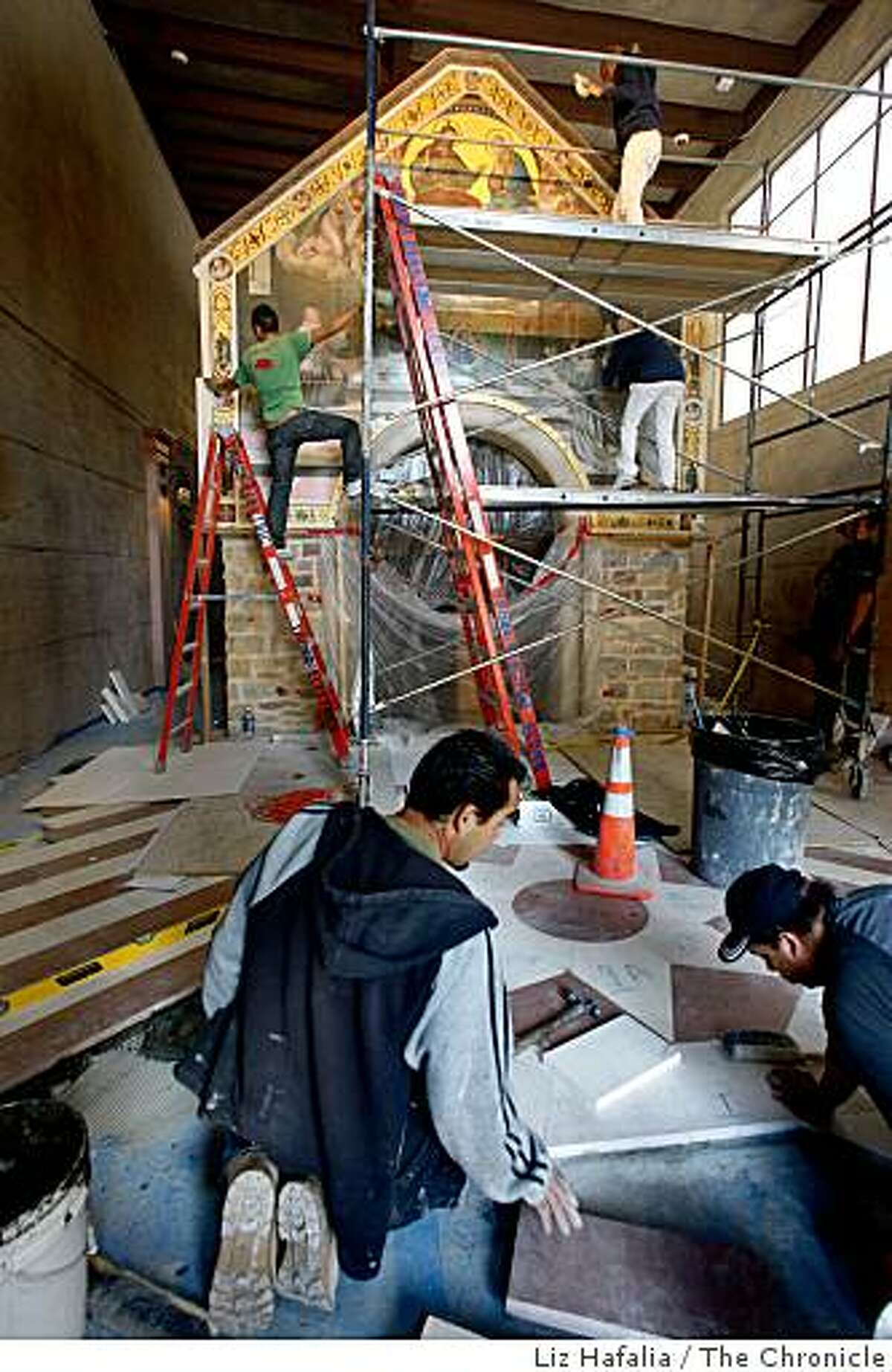 Artists and builders working on the shrine of St. Francis in North Beach in San Francisco, Calif., on Wednesday, August 27, 2008 to recreate a replica of the famed Portziuncola chapel in Assisi that St. Francis himself restored.
