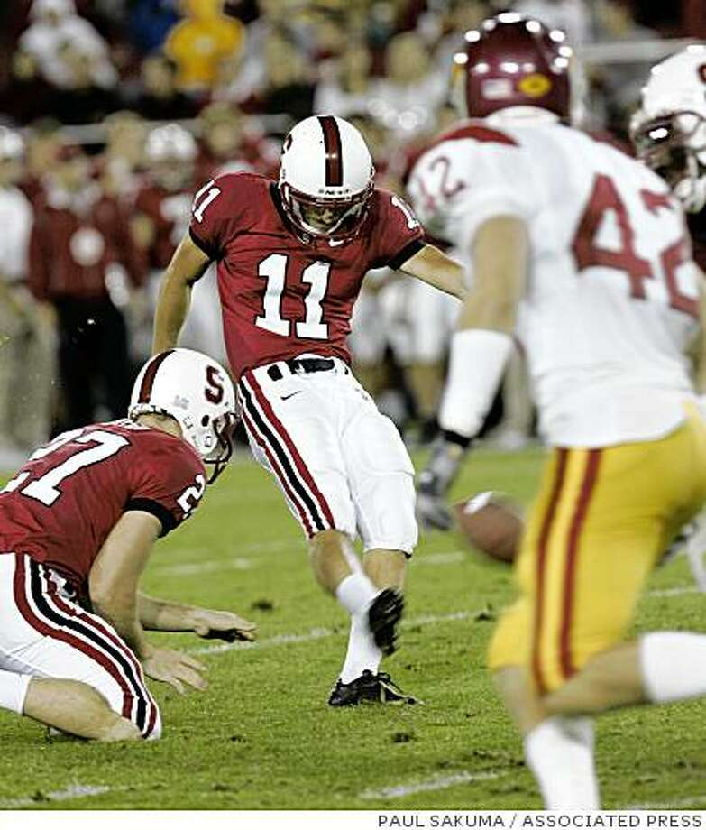 Stanford kicker Aaron Zagory's (11) field goal is blocked in the third quarter by Southern California during their NCAA football game in Stanford, Calif., Saturday, Nov. 4, 2006.The block resulted in a score for USC by cornerback Terrell Thomas. (AP Photo/Paul Sakuma) Photo: PAUL SAKUMA, ASSOCIATED PRESS