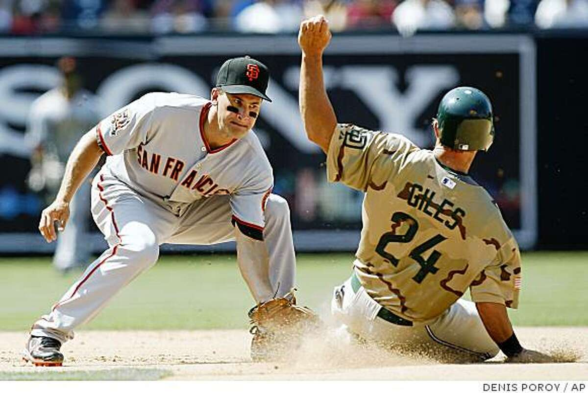 San Francisco Giants shortstop Omar Vizquel, left, tags out San Diego Padres' Brian Giles, right, as he tries to steal second base during the seventh inning of a baseball game Sunday, Aug. 3, 2008, in San Diego.