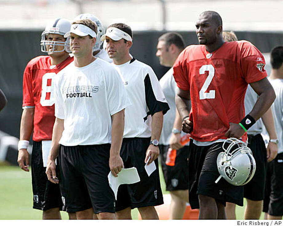** FILE ** In this July 24, 2008 file photo, Oakland Raiders head coach Lane Kiffin, second from left, quarterbacks Marques Tuiasosopo, left, and JaMarcus Russell (2) watch from the sidelines during workouts at their football training camp in Napa, Calif. The focus of the third exhibition game against the Arizona Cardinals on Saturday night, Aug. 23, 2008, will be on what Russell and the receivers can do through the air. (AP Photo/Eric Risberg,file) Photo: Eric Risberg, AP