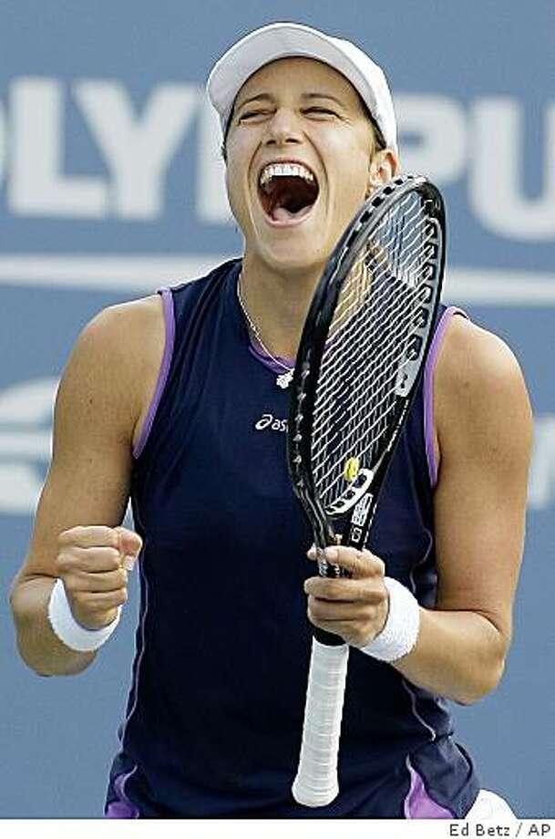 Katarina Srebotnik of Slovenia reacts after her 6-3, 6-7 (1), 6-3 win over Svetlana Kuznetsova of Russia at the U.S. Open tennis tournament in New York, Friday, Aug. 29, 2008. (AP Photo/Ed Betz) Photo: Ed Betz, AP