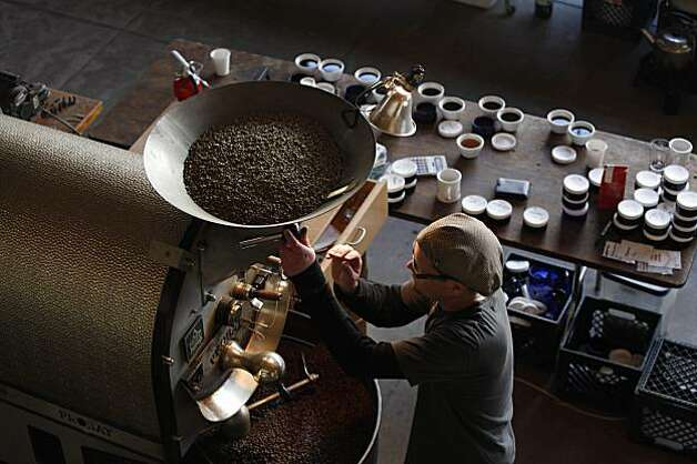 Joel Edwards, Ritual Coffee Roasters production roaster, works the roaster at Ritual Coffee Roasters on Thursday, March 4, 2010. Photo: Lea Suzuki, The Chronicle