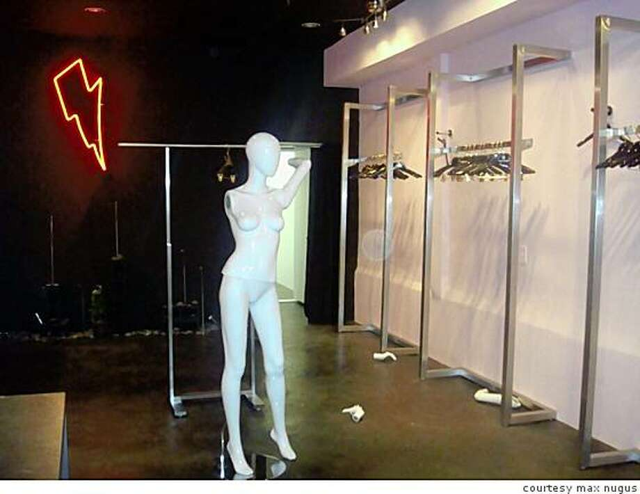 SF designer Max Nugus' Los Angeles boutique, after it was burglarized in July, 2008. The thieves took absolutely everything, leaving only hangers and mannequins. Photo: Courtesy Max Nugus