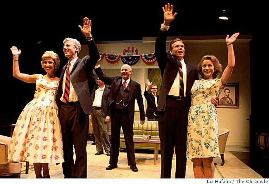 """Deb Fink and Tim Kniffin (left), Charles Dean (middle), and Charles Shaw Robinson and Emilie Talbot (right) rehearsing """"The Best Man"""", a political play about a national election at Aurora Theater in Berkeley, Calif., on Thursday, August 21, 2008. Photo: Liz Hafalia, The Chronicle"""