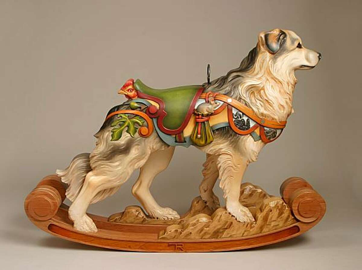 Artist Tim Racer insists on meeting every dog before he re-creates them as wooden sculptures, often flying across the country to take exact measurements.