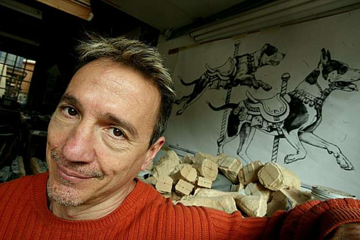 Sculptor Tim Racer sits in his studio in Oakland, Calif. on Monday, March 16, 2009