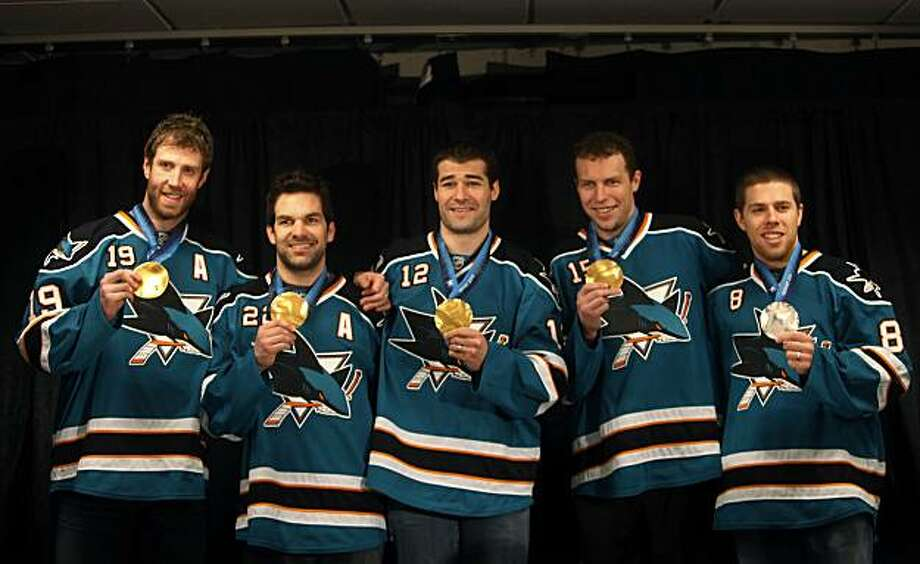 Joe Thornton, Dan Boyle, Patrick Marleau, Dany Heatley and Joe Pavelski display their Olympic medals at a press conference at HP Pavilion in San Jose, Calif. on Tuesday, March 2, 2010. Photo: Lea Suzuki, The Chronicle