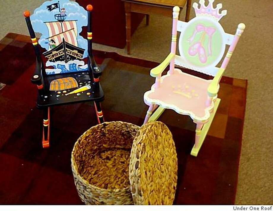 Two childrens chairs, retail value 300 each, sale priced $75 Roost baskets, retail $125. Sale $25. Sample area rugs $25 each at the Under One Roof sale. Photo: Under One Roof